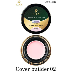 Гель камуфлирующий F.O.X Cover (camouflage) builder gel UV+LED 002, 15 мл