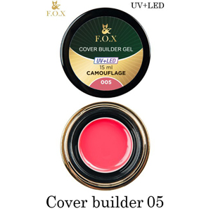 Гель камуфлирующий F.O.X Cover (camouflage) builder gel UV+LED 005, 15 мл