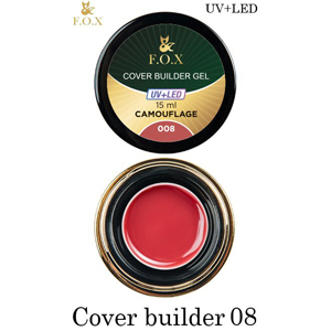 Гель камуфлирующий F.O.X Cover (camouflage) builder gel UV+LED 008, 15 мл